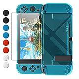 FYOUNG Schutzhülle mit Schutzfolie Kompatibel mit Nintendo Switch, Stoßdämpfung und Anti-Scratch Transparent Hülle Zubehör für Switch mit Displayschutzfolie und Griffkappen (Blau)