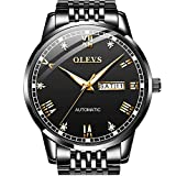 Men's Automatic Watches Fasion Black Mechanical Watches for Men Self Winding Watches Stainless Steel Casual Dress Wrist Watch Japanese Movement Waterproof with Date Day Business Man OLEVS Watches