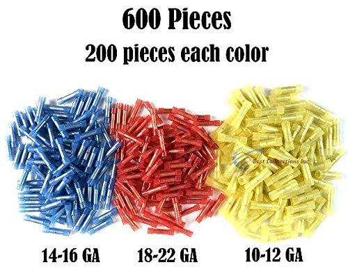 600 RED BLUE YELLOW NYLON BUTT CONNECTORS 22-18 16-14 12-10 AWG GA SCOSCHE