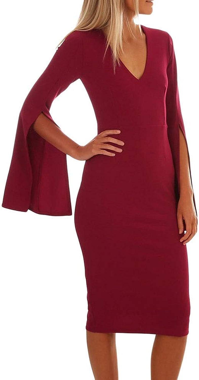 NEOART Sexy Vneck Dress Long Bell Sleeve Bodycon Midi Dress Evening Party Dress for Women