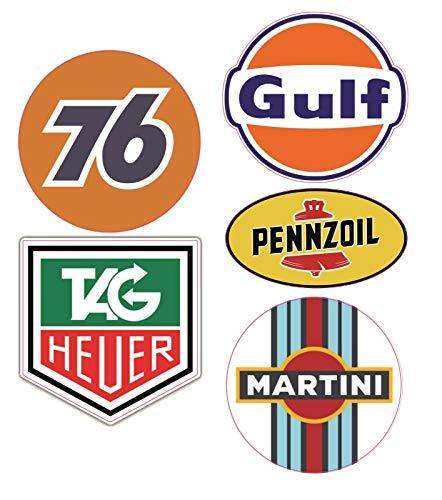#806 / 5X Aufkleber Öl Rally Racing Breite je ca. 6,5 cm Martini Gulf 76 Rennsport Oldtimer Vintage Retro Tuning Sticker Auto V8
