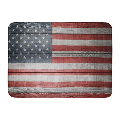 Fußmatten Bad Teppiche Outdoor/Indoor Fußmatte Americana Nahaufnahme der amerikanischen Flagge auf Brettern Holz patriotischen USA Wand Badezimmer Dekor Teppich Badematte