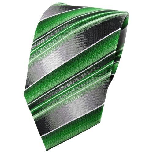 TigerTie Designer Krawatte in grün smaragdgrün silber anthrazit grau gestreift - Tie Binder