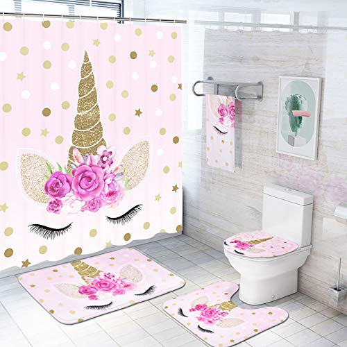 5 Pcs Unicorn Shower Curtain Sets with Rugs and Towels, Include Non-Slip Rug, Toilet Lid Cover and Bath Mat, Pink Cartoon Unicorn Shower Curtain with 12 Hooks for Kids Girl Daughter Bathroom, Large