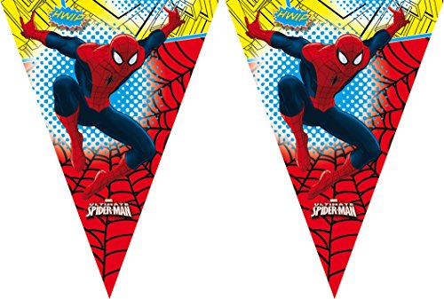 amscan Banderole de décoration à fanions Plastique Ultimate Spider-Man Marvel - 2,3m