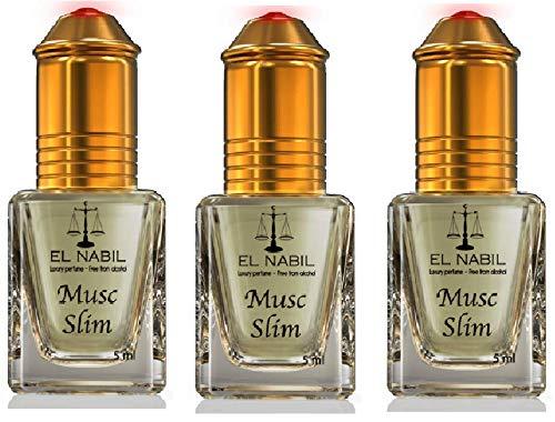 LOT DE 3 MUSCS PARFUMS MUSC SLIM EL NABIL 5ML NOTES: Notes Fruitées, Orange, Bleurs Blanches et Musc