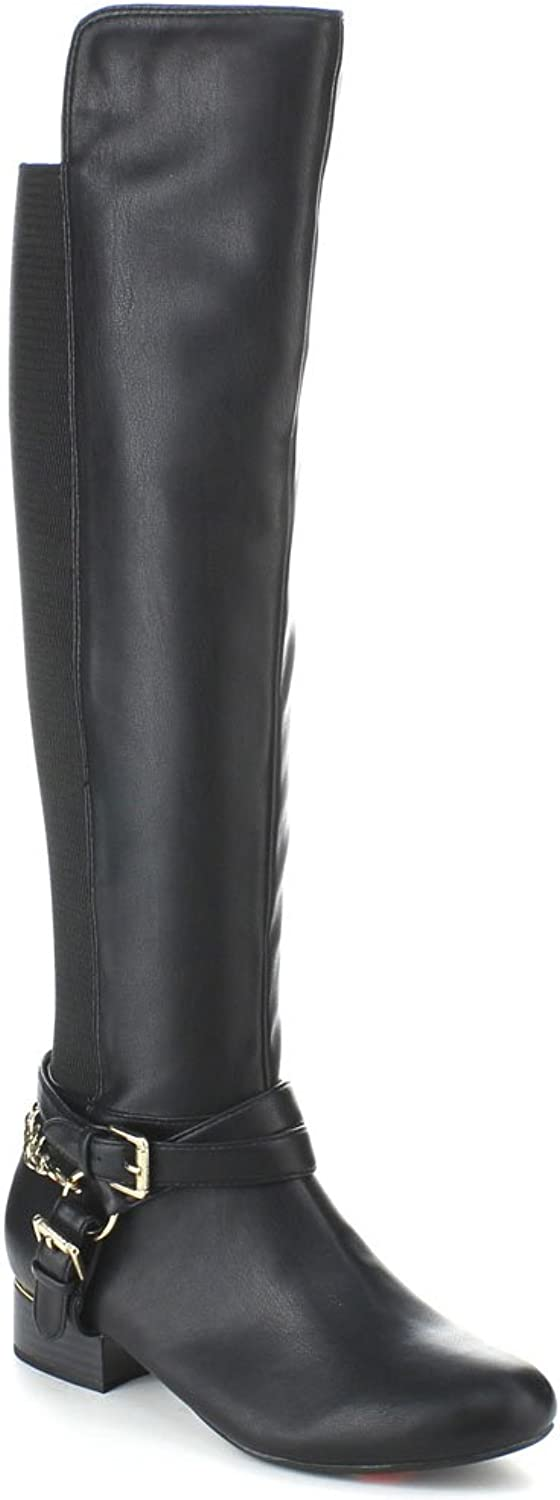 X2B Static Footwear Groove-2 Women's Criss Cross Ankle Strap Side Zip 50 50 Knee High Boots