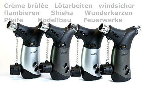 Unilite Unilite 4X Sturmfeuerzeug arrettierbarer Jetflamme. Nachfüllbares Feuerzeug, Mini-Gasbrenner