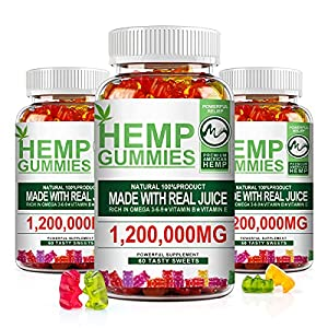 (3 Pack) Hemp Gummies 1,200,000mg Extra Strength - Stress Relief Fruity Gummy Bear with Hemp Oil, Natural Hemp Candy Edibles Supplements - Promotes Sleep & Calm Mood