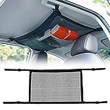 Locisne Filet de Cargaison de Plafond de Voiture Sac de Filet de Poche de rangeament intérieur de Toit de Coffre de Voiture Universel avec Fermeture à glissière pour Jeep Van SUV