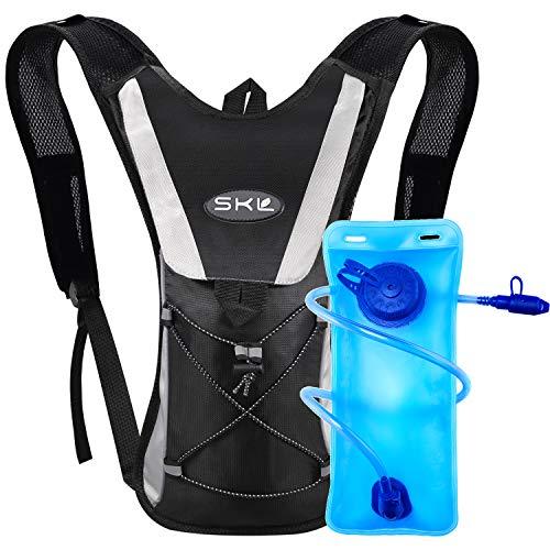 SKL Mochila de hidratación con 2l Mochila de hidratación Vejiga del Agua Mochila de Senderismo Mochila de Ciclismo para Escalada Camping Correr (Negro)