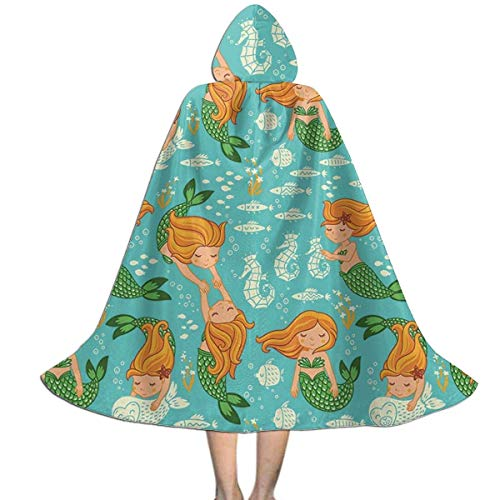 Amanda Walter Kids Cape Cloak with Hood Mermaid Singing Mythical Ornament Unisex Full Length Hooded Robe Cloak Long Cape Cosplay Costume