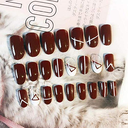 Mädchen Niedliches Dreieck Malen Falscher Nagel Damen Sexy Rote Farbe Gemischt Laden Gefälschte Nägel Kleiner Runder Kopf Nagel Kunst Tipps Mit
