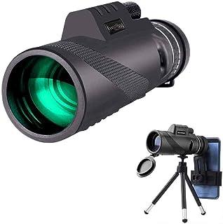 単眼鏡 望遠鏡 40×60高倍率レンズ 10倍 広角 スーパーズーム スマホレンズ スマートフォン対応 防水防塵と防霧望遠鏡 野球観戦 運動会 撮影 固定用三脚付き