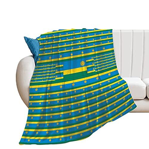 NIKIMI Überwurf für Couch, Sofa, Stuhl, Wohnzimmer, Ruanda-Flagge, atmungsaktiv, Flanell, personalisierbar, für Damen & Herren