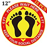 15PCS Social Distance Floor Decals Stickers - Keep Safe Sign for Grocery, Crowd Control Guidance, Pharmacy, Bank 12inches
