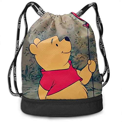 Winnie Cartoon Pooh Bundle Mochila de gran capacidad, ligera, portátil, multifuncional, de moda, con cordón, adecuada para viajes de fitness, hombres y mujeres