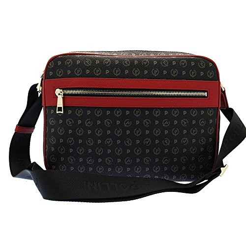 Pollini Heritage shoulder bag tapiro Pvc calf leither black red