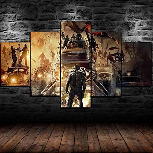 Cuadro Decoración Arte Pared Salon Abstractos Hogar Moderno-Impresión En Lienzo 5 Piezas XXL-Mural No Tejido Impresión Artística Imagen Gráfica Regalo Navidad Mad Ma 4 Fury Road Movie 125X60Cm