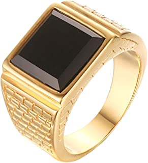 Men's Stainless Steel Black Onyx Gold Ring Europe and America Style