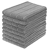 Product Image of the Gryeer Microfiber Kitchen Towels, Super Absorbent, Extra Large and Thick Dish Towels, Stripe Designed, 8 Pack, 28 x 20 Inch, Gray
