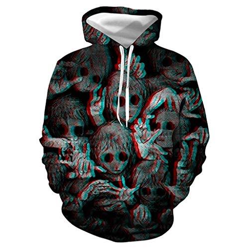 RANTA Halloween 3D Print Hoodies Party Lässig Langarm Mantel Bluse Pullover mit Kapuze Herren für Herbst Winter Sweatshirt Gr. XL, Schwarz - 3.