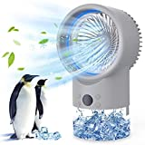 Portable Air Conditioner Fan, Personal Mini AC Evaporative Air Cooler Super Quiet, Desk Fan Air Cooler with 7 Colors LED Light 3 Speeds, Air Circulator Humidifier Misting Fan For Bedroom Cool Air