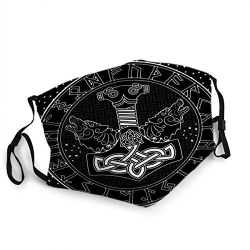 Thors Hammer Celtic Norse Mjollnir Skandinavier und Zwei Wölfe Sterne Stilvolle Gesichtsmaske Aktivkohle Maske für Party Reise Täglicher Gebrauch Waschbar Hautfreundlich Nebel Haze Proof Staubmaske