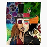 Edward and Johnny Mad Colorful Chocolate Sparrow Willy Hatter Burton Depp The Scissorhands Wonka Tim Jack Charlie Factory Impressive Posters for Room Decoration Printed with The Latest Modern technol