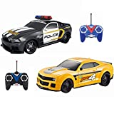 RC Remote Control Police Car & Racing Car 1:24 Scale Radio Control Police Chase Fun Parent Friendly - No Siren Sound or Flashing Lights | Two Players Can Play Together