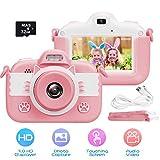 slopehill Kinder Kamera, Digitalkamera Hochauflösende Video Intelligenter 3 Zoll IPS Touchscreen / 1080P / USB / 32 GB TF Karte / Zoom Selfie Kamera mit Zwei Objektiven (Pink)