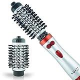 "Salon Beauty Perfect Heat Large 2 inch + 1.5"" Inch Interchangeable Tourmaline Ceramic Ionic Rotating Hot Styler Spin Soft Bristle Long Hair Brush HM26000"