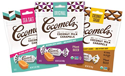 Cocomels Coconut Milk Caramels, Original, Sea Salt, and Coconut Sugar, Organic Candy, Dairy Free, Vegan, Gluten Free, Non-GMO, No High Fructose Corn Syrup, Kosher, Plant Based, (Variety 3 Pack)