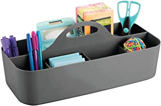 mDesign Extra Large Office Storage Organizer Utility Tote Caddy Holder with Handle for Cabinets, Desks, Workspaces - Holds Desktop Office Supplies, Gel Pens, Pencils, Markers, Staplers - Charcoal Gray
