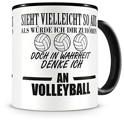 Samunshi® Ich denke an Volleyball Tasse Kaffeetasse Teetasse Kaffeepott Kaffeebecher Becher H:95mm/D:82mm schwarz