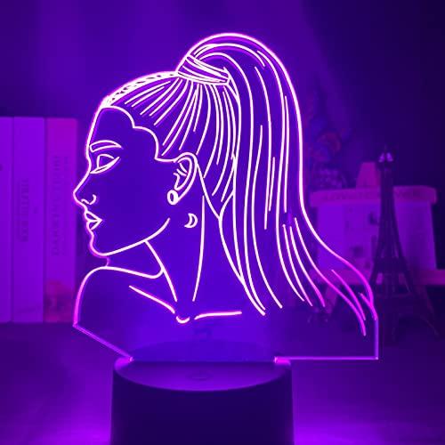 ZZSSC 3D Night Light Singer Ariana Grande Regalo para los Fans Dormitorio Decoración Luz LED Touch Sensor Color Cambiador de Trabajo Lámpara Lámpara Celebridad(16 Color with Remote)