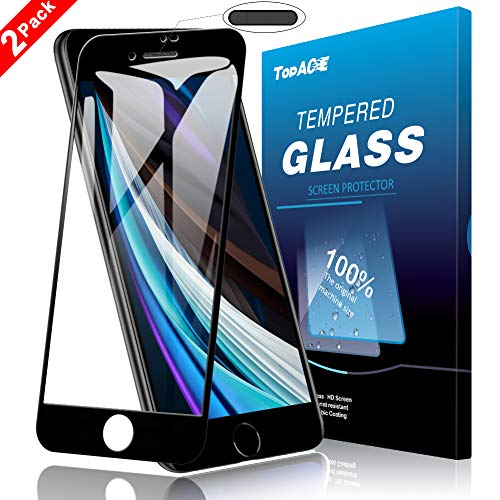TopACE 2 Stück Panzerglas für iPhone SE 2020, Mit Staubnetz, Volle Bedeckung, Hüllenfreundlich, 9H Härte Panzerglas Schutzfolie, HD Klar Displayschutzfolie, Anti-Kratzen, Blasenfrei, Einfacher Montage