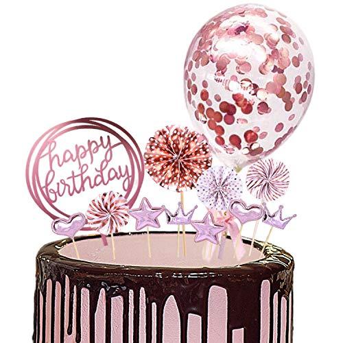 MAEKIJOY Tortendeko Rosegold Geburtstag Kuchen Topper 12er Set Konfetti Ballon, Happy Birthday, Papierfächer, Herzförmig, Sterne, Krone Cake Topper Geburtstagstorte Kuchen Deko