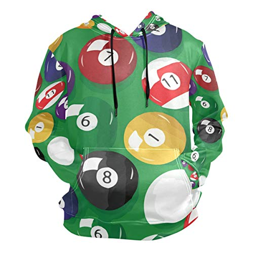 Billiards Full Base Pattern Men's Hipster Hip Hop Classic Pullover Long Hoodie Sweatshirts Jacket