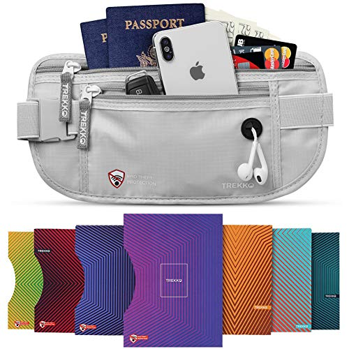 Money Belt for Travel for Men & Women - with RFID Blocking Sleeves - Multiple Compartments & Hidden Pocket for Safe Travel and Daily Use. (Grey)