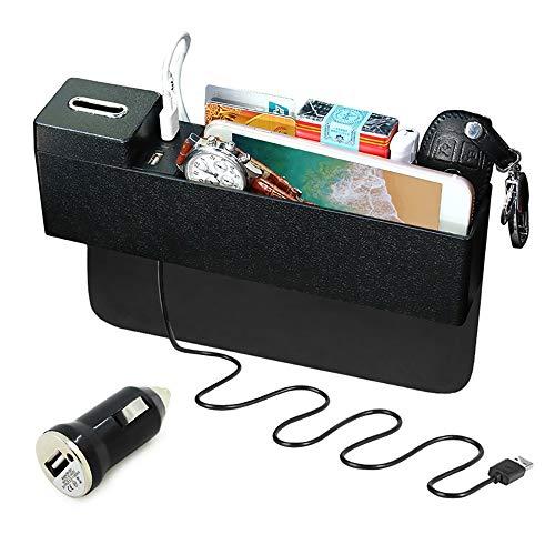 VBARV Caja de Almacenamiento para Asiento de automóvil, Organizador de Asiento de automóvil Multifuncional, Cuero PU Impermeable de Primera Calidad, 2 Puertos de Carga USB, fácil de Limpiar