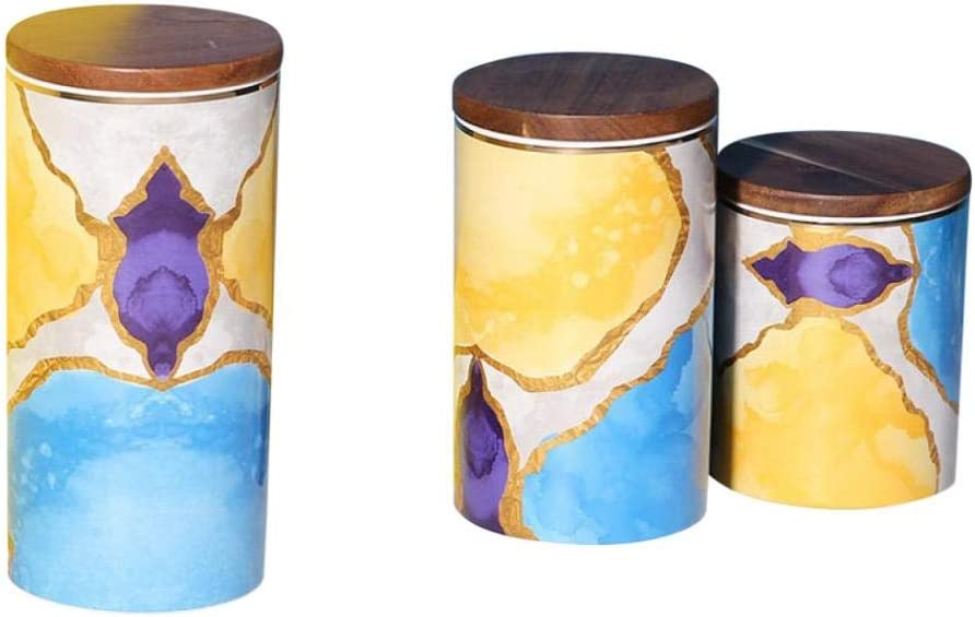 Ceramic Kitchen Canisters Food Super Jacksonville Mall special price Storage Wooden with Airtight Jar