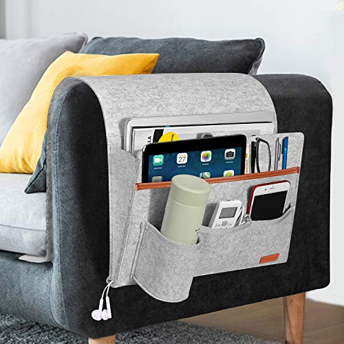 SIMBOOM Sofa Remote Holder Hanging Couch Caddy with 5 Pockets, Bedside Sofa Storage Pocket for Laptop, iPad, Magazines, Books, Phone - Light Grey
