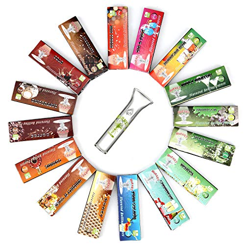 HORNET Flavored Rolling Papers with Glass Filter, 850 PCS Unbleached and Raw Papers, 17 Juicy Fruit Flavors (1 1/4 Size)