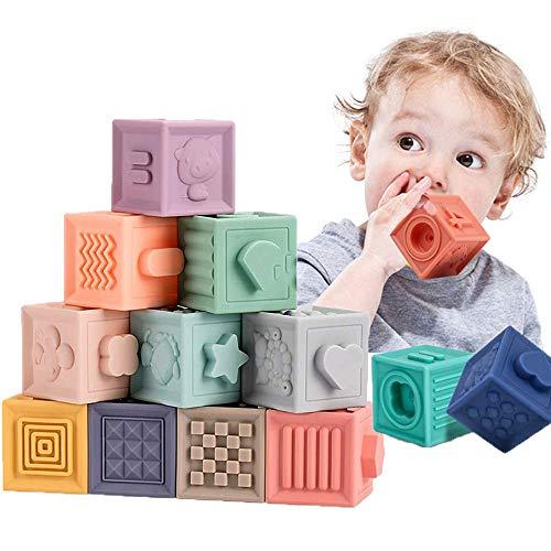 12 Piezas Cubos Juguetes Bebe, Bloques Apilables para Bebés 0-12 Meses, para el Baño del Bebé Juegue con números, Formas, Animales, Insectos de Letra Durante