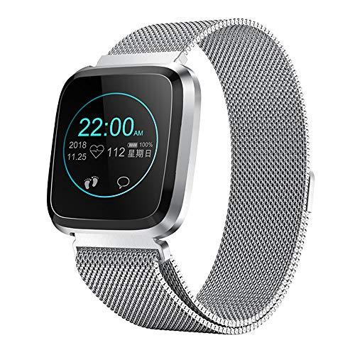 RanGuo Reloj Inteligente para Hombres Mujeres y niños, Deportes al Aire Libre Smart Watch para Sistema Android y iOS, Apoyo recordatorio de Llamada y recordatorio de Mensaje (Correa de Acero, Plata)