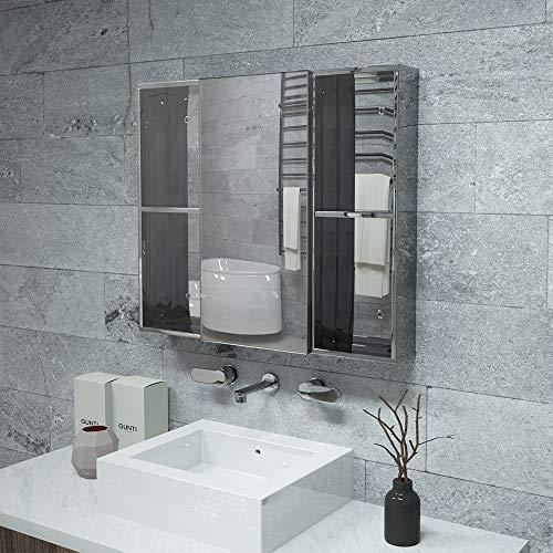 Janboe Badezimmer-spiegelschrank Offenen Fächer Hängeschrank Rostfreier Stahl spiegelschrank 70x60x12cm