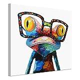 Pintura en lienzo de rana, 50 x 50 cm, pintura al óleo pintada a mano para decoración del hogar,...