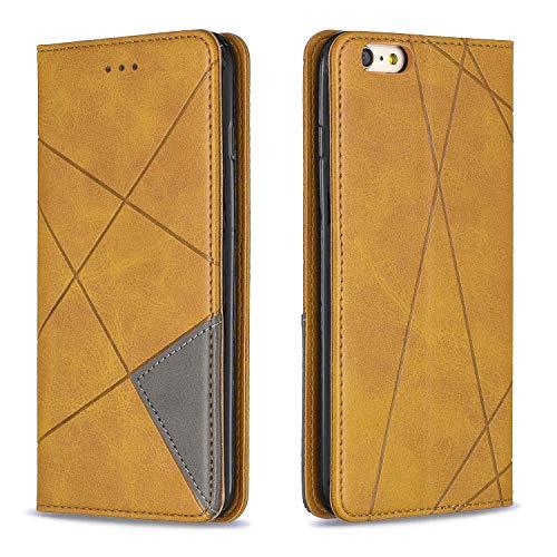 Coque pour iPhone 6S Plus/6 Plus Housse, Etui en Cuir PU Portefeuille Coque avec Fente Carte, Fermeture Magnétique und Flip Béquille pour Apple iPhone 6SPlus/6Plus - JEBF090013 Jaune