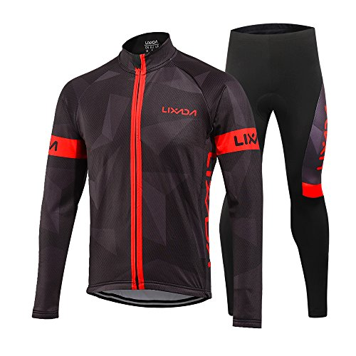 Lixada Men's Cycling Clothing Suit Winter Thermal Fleece Sportswear Set Long Sleeve Windproof Jersey Coat Jacket + 3D Padded Pants Trousers
